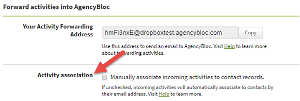 Screenshot showing the Activity association option on the Email Forwarding tab