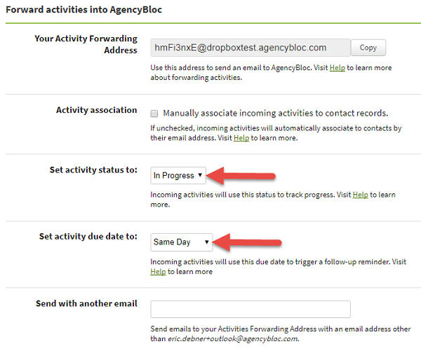 Screenshot showing the options to set default status and due date for activities forwarded into AgencyBloc