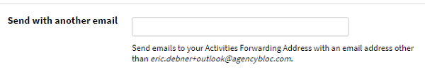 Screenshot showing the option to add a second email address to forward emails into AgencyBloc