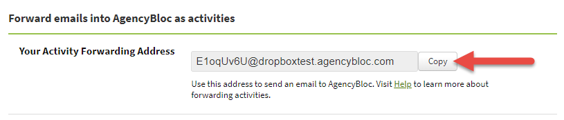 Screenshot showing your Activity Forwarding Address on the Email Forwarding tab