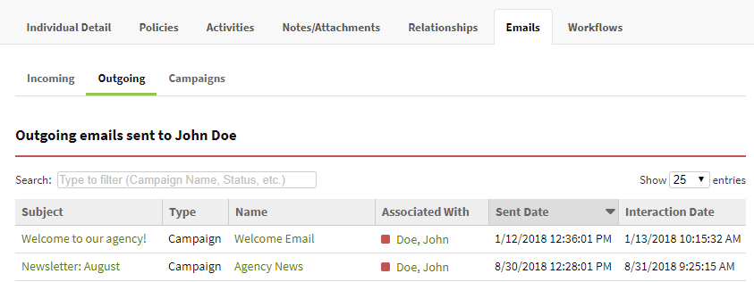 Screenshot showing the Outgoing emails tab on an Individual record