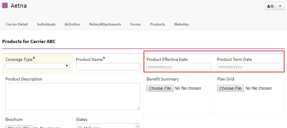 Screenshot highlighting the Product Effective Date and Product Term Date fields on a carrier product