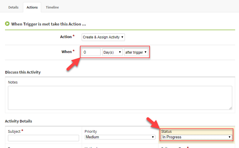 Screenshot showing the timing for an activity workflow action
