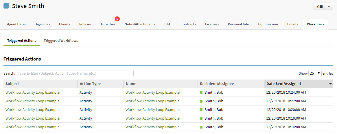 Screenshot showing an example of an agent record that is in an workflow activity loop