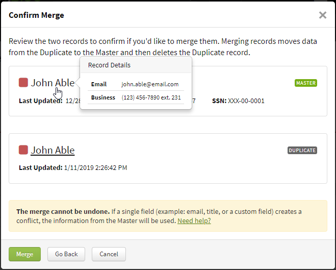 Screenshot showing the confirmation step for finalizing the merge