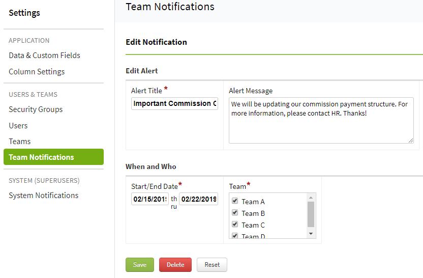 Screenshot showing setup for a team notification