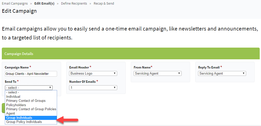 Screenshot showing the option to send email campaigns to Group Individuals