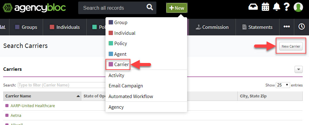 Screenshot showing the options to create a new carrier record using the +New button in the AgencyBloc header or the Carriers section