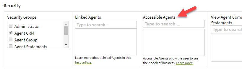 Screenshot showing the Accessible Agents field in User details