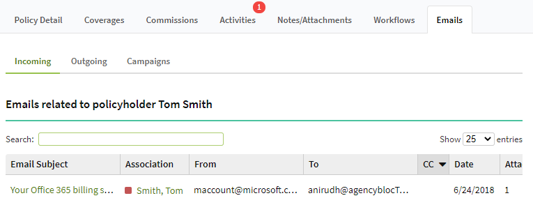 Screenshot showing the Incoming emails tab on a Policy record