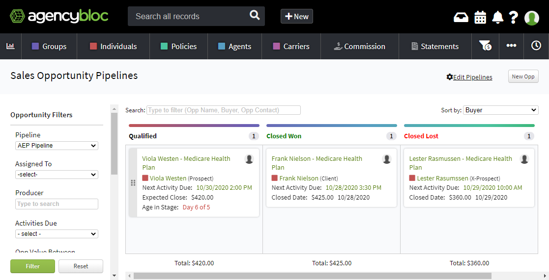 Screenshot showing the Sales Pipelines Board