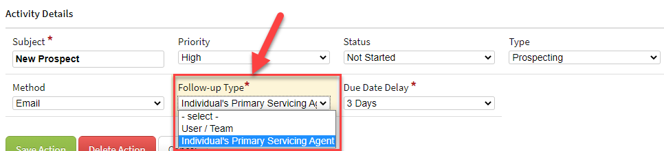 Screenshot showing the primary servicing agent option in an activity workflow