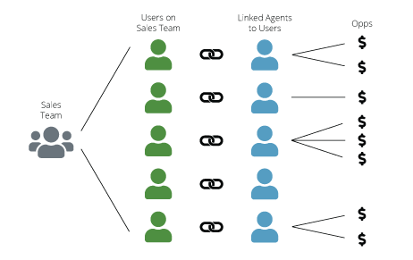 Diagram showing how sales teams are connected to sales opportunities