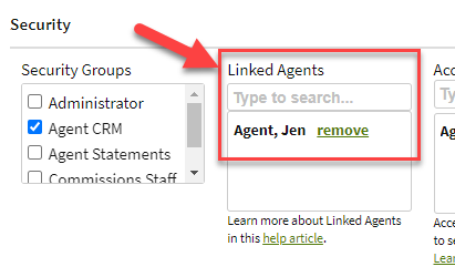 Screenshot showing the Linked Agents field on a user