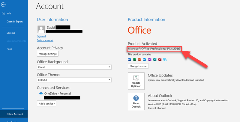 Screenshot showing how to find your Outlook version