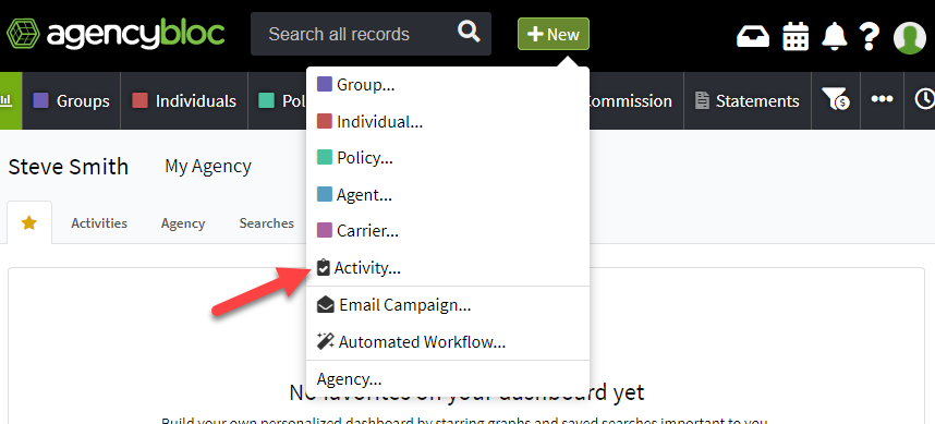 Screenshot showing how to create a new activity using the +New button in the AgencyBloc header