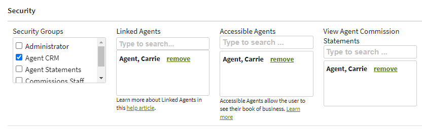 Screenshot showing settings for linked agnets and accessible agents in a user's account