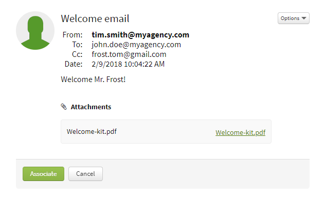 Screenshot showing an unassociated email