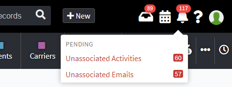 Screenshot showing the bell icon in the AgencyBloc header for accessing unassociated activities and emails