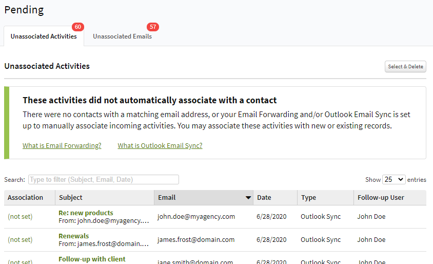 Screenshot showing the Unassociated Activities page