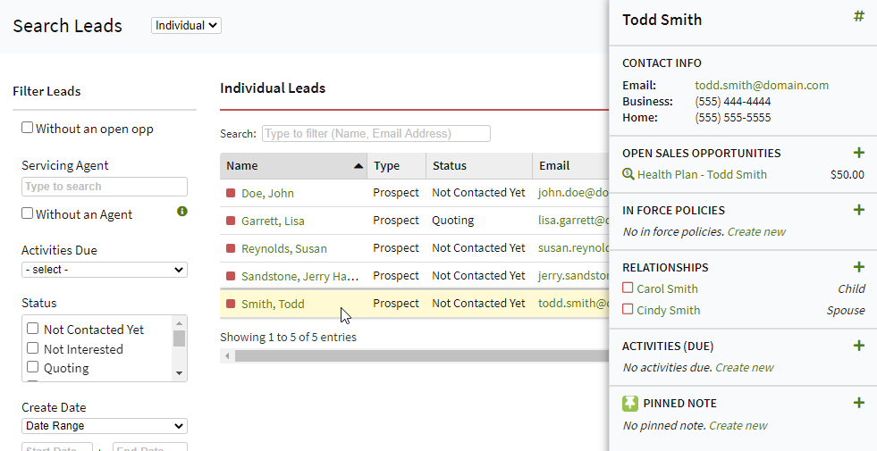 Screenshot showing the right-hand summary in the Leads List