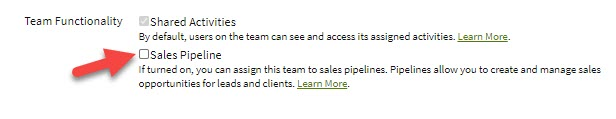 Screenshot showing Sales Pipeline team functionality