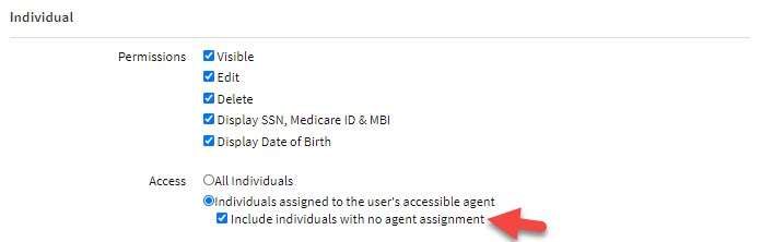Screenshot showing the option to allow Users in the Security Group to access unassigned Individuals