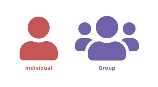 Icons that represent an Individual and a Group